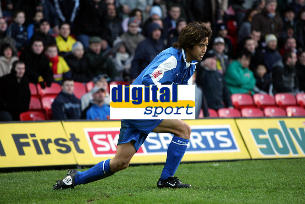 Fotball<br /> Championship England 2004/05<br /> Watford v Cardiff<br /> 28. desember 2004<br /> Foto: Digitalsport<br /> NORWAY ONLY<br /> junichi inamoto looks tied after 20mins