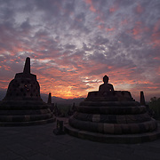 Sunset looking out from Borobudur Temple. Java, Indonesia.