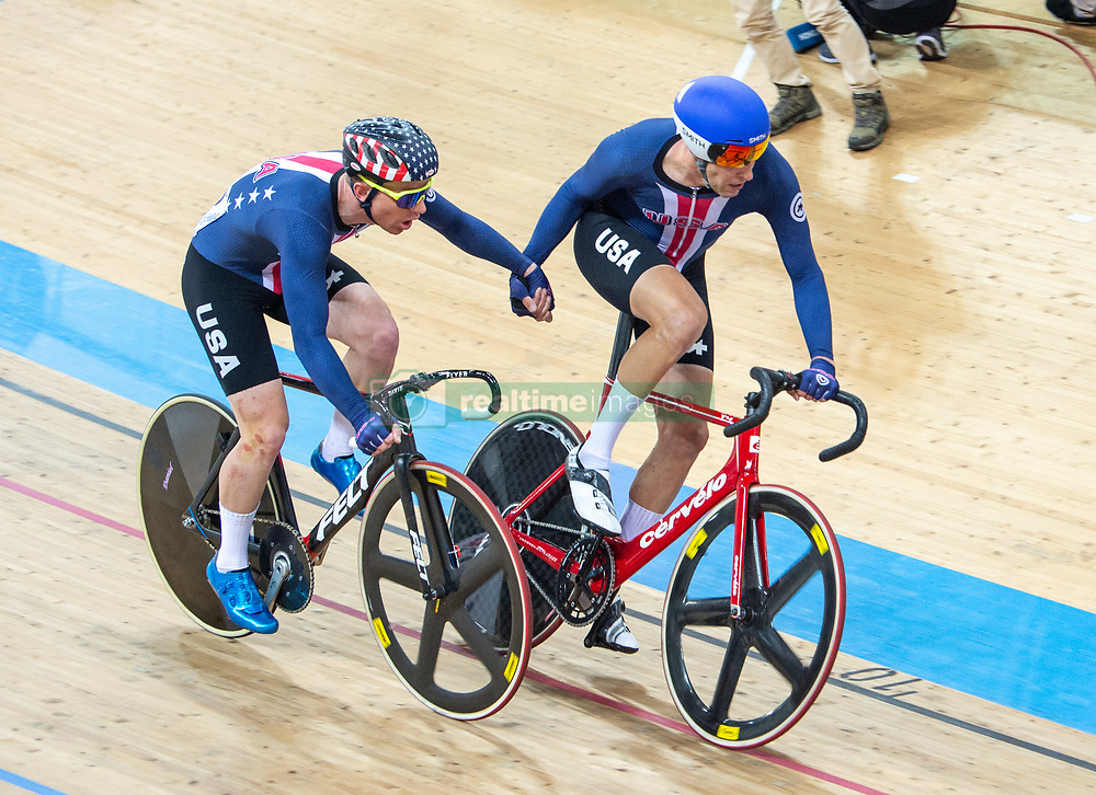 January 27, 2019 - Hong Kong, Hong Kong SAR, China - Team USA in the Mens Madison Final.UCI Track Cycling World Cup Hong Kong 2019, Qualifiers Leg VI at the Hong Kong Velodrome in Tseung Kwan O ,Kowloon (Credit Image: © Jayne Russell/ZUMA Wire)