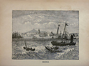Ships in the port of Madras (Now Chennai) is the capital of the Indian state of Tamil Nadu. from The merchant vessel : a sailor boy's voyages to see the world [around the world] by Nordhoff, Charles, 1830-1901 engraved by C. LaPlante; some illustrations by W.L. Wyllie Publisher New York : Dodd, Mead & Co. 1884
