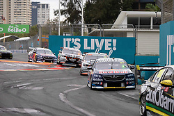 October 21, 2018 - Gold Coast, QLD, U.S. - GOLD COAST, QLD - OCTOBER 21: Shane van Gisbergen / Earl Bamber in the Red Bull Holden Racing Team Holden Commodore (97) ahead of a train of cars during the race at The 2018 Vodafone Supercar Gold Coast 600 in Queensland, Australia. (Photo by Speed Media/Icon Sportswire) (Credit Image: © Speed Media/Icon SMI via ZUMA Press)