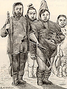 Greenlanders in polar dress made of animal skins, carrying a spear and a bow and arrow.  19th century engraving after a painting made in 1654.