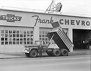 dump truck at Frank Chevrolet, 5131  NE Union (Now Vanport Square on MLK) April 21, 1960
