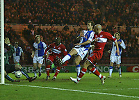 Photo: Andrew Unwin.<br /> Middlesbrough v Blackburn Rovers. Carling Cup. 21/12/2005.<br /> Middlesbrough's Massimo Maccarone (R) comes close in added-time to an equaliser.