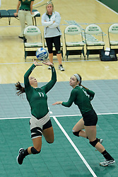 26 August 2017:  Kira Jackson & Maisy Bowden during the green-white scrimmage of the Illinois Wesleyan Titans in Shirk Center, Bloomington IL