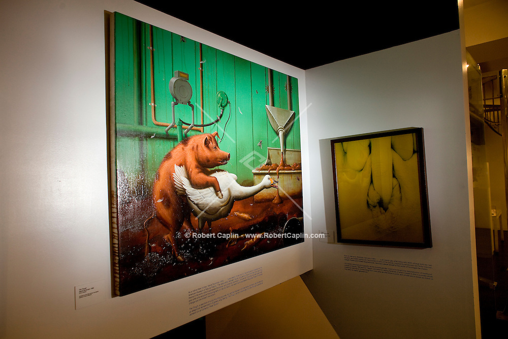 """Museum of Sex in New York City. """"The Trough"""" by Alexis Rockman, left, and """"Untitled"""" by Matthias Hermann, right. Pieces specifically asked for by writer. ..Photo by Robert Caplin"""