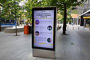 HM Government, and NHS advertising health advice boards at More London which is eerily quiet and silent on empty streets as lockdown continues and people observe the stay at home message in the capital on 11th May 2020 in London, England, United Kingdom. Coronavirus or Covid-19 is a new respiratory illness that has not previously been seen in humans. While much or Europe has been placed into lockdown, the UK government has now announced a slight relaxation of the stringent rules as part of their long term strategy, and in particular social distancing.