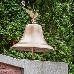 A brass fire bell at the Sunbury Fire Department Memorial in Sunbury, Pennsylvania