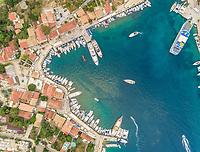 Aerial view of harbor on the coast of Fiskardo, Greece.
