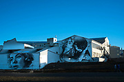 Murals on  old old industrial unit. Revkjavik, Iceland.