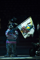 KELOWNA, CANADA - APRIL 8: Kelowna Rockets' mascot Rocky Racoon stands on the ice at the start of the game against the Portland Winterhawks on April 8, 2017 at Prospera Place in Kelowna, British Columbia, Canada.  (Photo by Marissa Baecker/Shoot the Breeze)  *** Local Caption ***