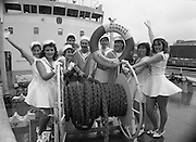 """Dames At Sea""  (R67)..1987..19.11.1987..11.19.1987..19th November 1987..Aboard the SS Miranda, a Guinness ship, the cast of the musical revue ""Dames at Sea"" went through their paces to promote the show...Image shows members of the cast of ""Dames At Sea' posing for promotional pictures aboard the SS Miranda."