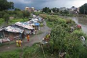 Slums along the river in Kathmandu.
