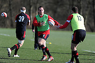 Gethin Jenkins in action (c), announced as capt for the match against England. Wales rugby team training and press conference at the Vale, Hensol near Cardiff, South Wales on Thursday 14th March 2013.  the team are training ahead of the final RBS Six nations match against England this weekend. pic by  Andrew Orchard, Andrew Orchard sports photography,