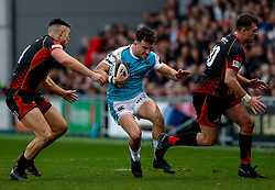 Luke Morgan of Ospreys under pressure from Jared Rosser of Dragons<br /> <br /> Photographer Simon King/Replay Images<br /> <br /> Guinness PRO14 Round 12 - Dragons v Ospreys - Sunday 30th December 2018 - Rodney Parade - Newport<br /> <br /> World Copyright © Replay Images . All rights reserved. info@replayimages.co.uk - http://replayimages.co.uk