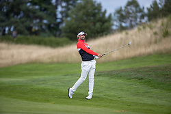 Great Britain's Lee Slattery plays his approach to the par 5 2nd hole during day ten of the 2018 European Championships at Gleneagles PGA Centenary Course.