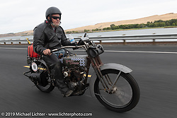 Billy Page riding his 1916 Harley-Davidson model J on the Motorcycle Cannonball coast to coast vintage run. Stage 14 (303 miles) from Spokane, WA to The Dalles, OR. Saturday September 22, 2018. Photography ©2018 Michael Lichter.