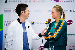 October 12, 2018 - Dayana Yastremska of the Ukraine talks to the media after winning her quarter-final match at the 2018 Prudential Hong Kong Tennis Open WTA International tennis tournament (Credit Image: © AFP7 via ZUMA Wire)