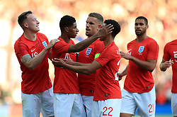 England's Marcus Rashford (second left) celebrates scoring his side's first goal of the game during the International Friendly match at Elland Road, Leeds.