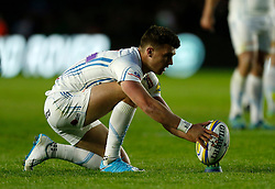 Exeter's Henry Slade lines up a penalty during the Aviva Premiership match at Twickenham Stoop, London.
