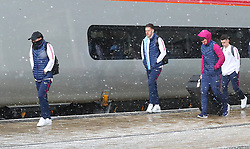 David Silva, Ederson and Phil Foden and The Manchester City team are seen at Manchester Piccadilly Train Station on Thursday morning as they make their trip to London to face Arsenal in the premier league