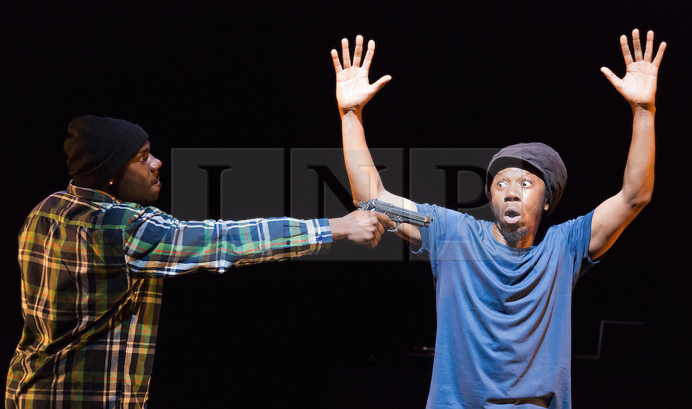 © Licensed to London News Pictures. 17/10/2012. London, England. L-R: Mikey J' Asante of Blue Boy Entertainement and Jonzi D. Lyrikal Fearta - Redux revisits some of Jonzi's best known works, including Guilty, Shoota, Safe, Classroom, The Fast Lane and Cracked Mirror. To perform these pieces at the Lilian Baylis Studio at Sadler's Wells, Jonzi is joined by hip hop dance talent including Banxy, Bboy Tuway, Bboy Unique, Lil' Tim and from Boy Blue Entertainment Kenrick 'H2O' Sandy and Michael 'Mikey J' Asante. Photo credit: Bettina Strenske/LNP