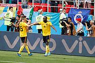Romelu Lukaku of Belgium celebrates after scoring with Thomas Meunier during the 2018 FIFA World Cup Russia, Group G football match between Belgium and Tunisia on June 23, 2018 at Spartak Stadium in Moscow, Russia - Photo Tarso Sarraf / FramePhoto / ProSportsImages / DPPI