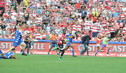 070418 Emirates Airlines Park, Ellis Park, Johannesburg, South Africa. Super Rugby. Lions vs Stormers. Madosh Tambwe on his way to scoring one of four tries.<br />Picture: Karen Sandison/African News Agency (ANA)