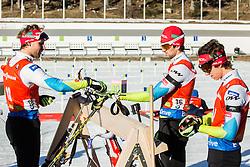 Klemen Bauer (SLO), Jakov Fak (SLO) and Miha Dovzan (SLO) during Men 12,5 km Pursuit at day 3 of IBU Biathlon World Cup 2015/16 Pokljuka, on December 19, 2015 in Rudno polje, Pokljuka, Slovenia. Photo by Vid Ponikvar / Sportida