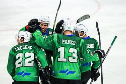 Players of HK SZ Olimpija celebrate during ice hockey match between HK SZ Olimpija Ljubljana and Steinbach Black Wings Linz in bet-at-home ICE Hockey League, on September 26, 2021 in Hala Tivoli, Ljubljana, Slovenia. Photo by Morgen Kristan / Sportida