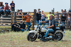 Stop at the Spur Creek Ranch north of Sturgis for food and cowboy games on the annual Michael Lichter - Sugar Bear Ride hosted by Jay Allen from the Easyriders Saloon during the Sturgis Black Hills Motorcycle Rally. SD, USA. Sunday, August 3, 2014. Photography ©2014 Michael Lichter.