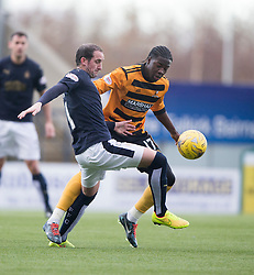 Falkirk's Mark Kerr and Alloa Athletic's Isaac Layne. <br /> Falkirk 2 v 0 Alloa Athletic, Scottish Championship game played 5/3/2016 at The Falkirk Stadium.