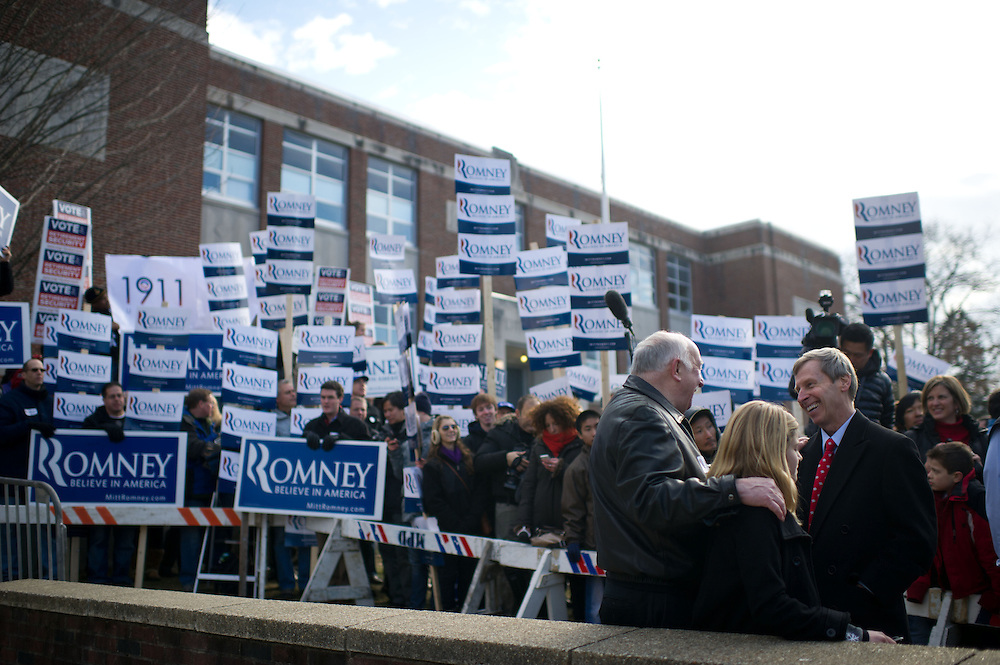 Romney supporters in full force at a polling station on Tuesday, Jan. 10, 2012 in Manchester, NH. (Photo by Jay Westcott/Politico)