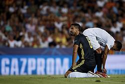 September 19, 2018 - Valencia, Valencia, Spain - Sami Khedira of Juventus  kneels down during the UEFA Champions League group H match between Valencia CF and Juventus at Mestalla on September 19, 2018 in Valencia, Spain  (Credit Image: © David Aliaga/NurPhoto/ZUMA Press)