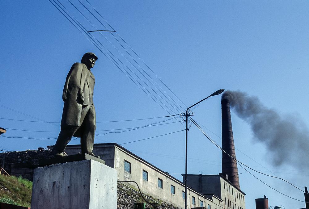 Statue of Lenin, coal fired power plant, Seaport of Provideniya, Chukotsk Peninsula, Northeast Russia, 1992