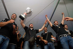 Vladimir Osmajic of Cimos Koper, Uros Rapotec of Cimos Koper, Matjaz Brumen of Cimos Koper, Bojan Skoko of Cimos Koper, Ziga Smolnik of Cimos Koper and fans celebrate  after the handball match between RK Cimos Koper (SLO) and SL Benfica (POR) in return final match of EHF Challenge Cup, on May 22, 2011 in Tent at Arena Bonifika, Koper, Slovenia. Koper defeated Benfica 31-27 and became Euro Challenge Champion 2011. (Photo By Vid Ponikvar / Sportida.com)