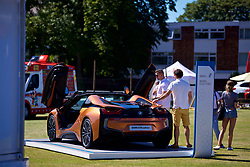 LIVERPOOL, ENGLAND - Sunday, June 24, 2018: Spectators look at the BMW i8 Roadster during day four of the Williams BMW Liverpool International Tennis Tournament 2018 at Aigburth Cricket Club. (Pic by Paul Greenwood/Propaganda)