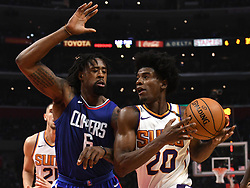 October 21, 2017 - Los Angeles, California, U.S. - Phoenix Suns forward Josh Jackson (20) drives to the basket against Los Angeles Clippers center DeAndre Jordan (6) in the first quarter during an NBA basketball game at the Staples Center on Saturday, Oct 21, 2017 in Los Angeles. .(Photo by Keith Birmingham, Pasadena Star-News/SCNG) (Credit Image: © San Gabriel Valley Tribune via ZUMA Wire)