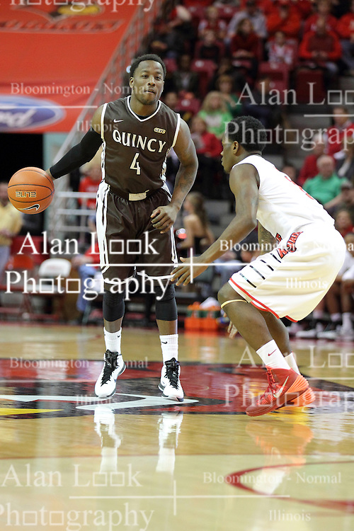 29 December 2014:  Thomas Jackson, Daishon Knight during an NCAA non-conference interdivisional exhibition game between the Quincy University Hawks and the Illinois State University Redbirds at Redbird Arena in Normal Illinois.