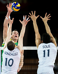 06.09.2014, Jarhunderdhalle, Breslau, POL, FIVB WM, Polen vs Serbien, Gruppe A, im Bild Thomas Edgar australia #6 Jose Luis Gonzalez argentina #10 Sebastian Sole argentina #11 // during the FIVB Volleyball Men's World Championships Pool A Match beween Poland and Serbia at the Centennial Hall in Wroclaw Poland on 2014/09/06. EXPA Pictures © 2014, PhotoCredit: EXPA/ Newspix/ Sebastian Borowski<br /> <br /> *****ATTENTION - for AUT, SLO, CRO, SRB, BIH, MAZ, TUR, SUI, SWE only*****