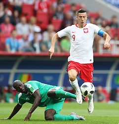 MOSCOW, June 19, 2018  Robert Lewandowski (R) of Poland vies with Kalidou Koulibaly of Senegal during a Group H match between Poland and Senegal at the 2018 FIFA World Cup in Moscow, Russia, June 19, 2018. (Credit Image: © Xu Zijian/Xinhua via ZUMA Wire)