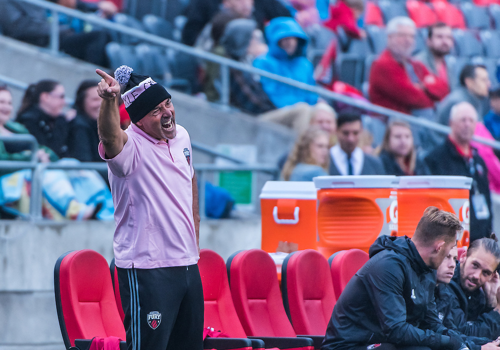 Fury goalkeeper coach Bruce Grobbelaar shouts instructions during the NASL match between the Ottawa Fury FC and Puerto Rico FC at TD Place Stadium in Ottawa, ON. Canada on Oct. 2, 2016.<br /> <br /> PHOTO: Steve Kingsman/Freestyle Photography