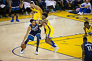 Golden State Warriors guard Nick Young (6) defends Minnesota Timberwolves center Karl-Anthony Towns (32) at Oracle Arena in Oakland, Calif., on January 25, 2018. (Stan Olszewski/Special to S.F. Examiner)