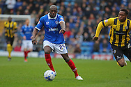 Portsmouth defender Nyron Nosworthy during the Sky Bet League 2 match between Portsmouth and Shrewsbury Town at Fratton Park, Portsmouth, England on 28 March 2015. Photo by Phil Duncan.