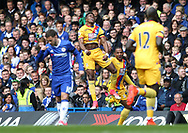 Crystal Palace's Wilfred Zaha celebrates scoring his sides opening goal during the Premier League match at the Stamford Bridge Stadium, London. Picture date: April 1st, 2017. Pic credit should read: David Klein/Sportimage via PA Images