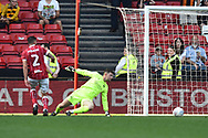 Goal - Frank Fielding (1) of Bristol City is beaten by a AKamil Grosicki (7) of Hull City goal to make the score 4-5 during the EFL Sky Bet Championship match between Bristol City and Hull City at Ashton Gate, Bristol, England on 21 April 2018. Picture by Graham Hunt.