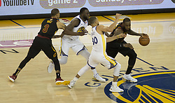 May 31, 2018 - Oakland, California, U.S - LeBron James #23 of the Cleveland  Cavaliers drives past   Stephen Curry #30 of the Golden State Warriors during their  NBA Championship Game 1 at Oracle Arena in Oakland,  California on Thursday,  May 31, 2018. ARMANDO  ARORIZO/PI (Credit Image: © Prensa Internacional via ZUMA Wire)