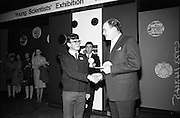 04/01/1967.01/04/1967.4th January 1967 .The third annual Aer Lingus Young Scientist Exhibition at the RDS..The Minister for Education Donagh O'Malley presents the prize to the winner Cormac Walter Hayes.  .