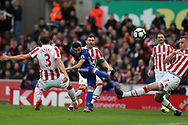 Pedro of Chelsea shoots just wide of goal. Premier league match, Stoke City v Chelsea at the Bet365 Stadium in Stoke on Trent, Staffs on Saturday 18th March 2017.<br /> pic by Andrew Orchard, Andrew Orchard sports photography.