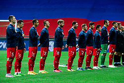 Players of Moldova listening to the National anthem during the UEFA Nations League C Group 3 match between Slovenia and Moldova at Stadion Stozice, on September 6th, 2020. Photo by Vid Ponikvar / Sportida